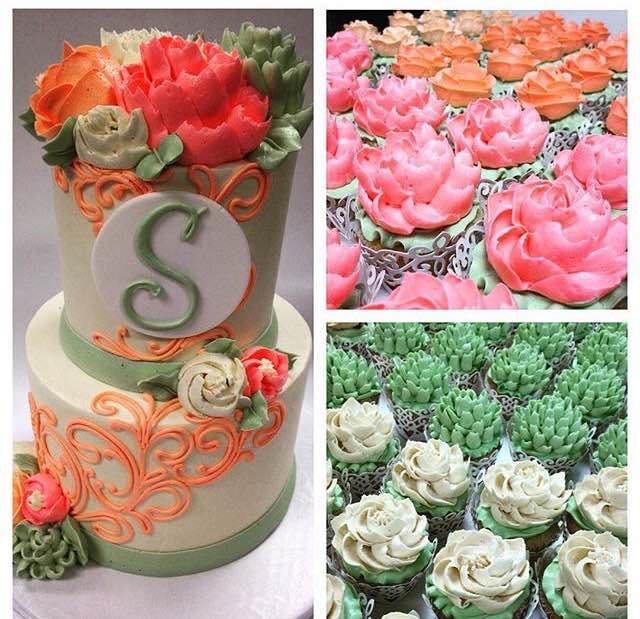 Sage and Coral Collection Classic cake and Floral Cupcakes