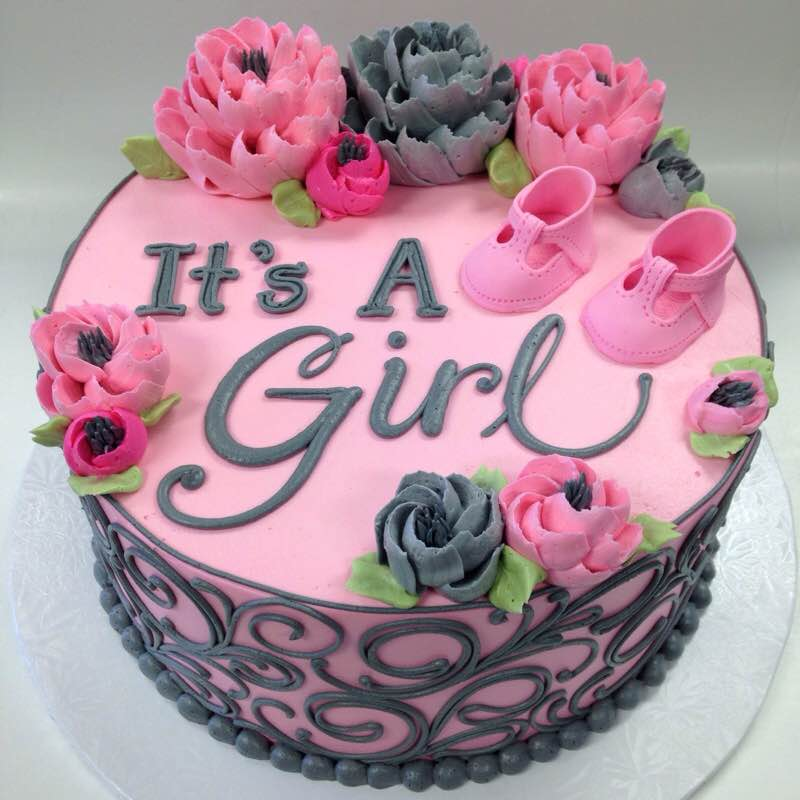 """Classic Grey and Pink """"It's a Girl"""""""