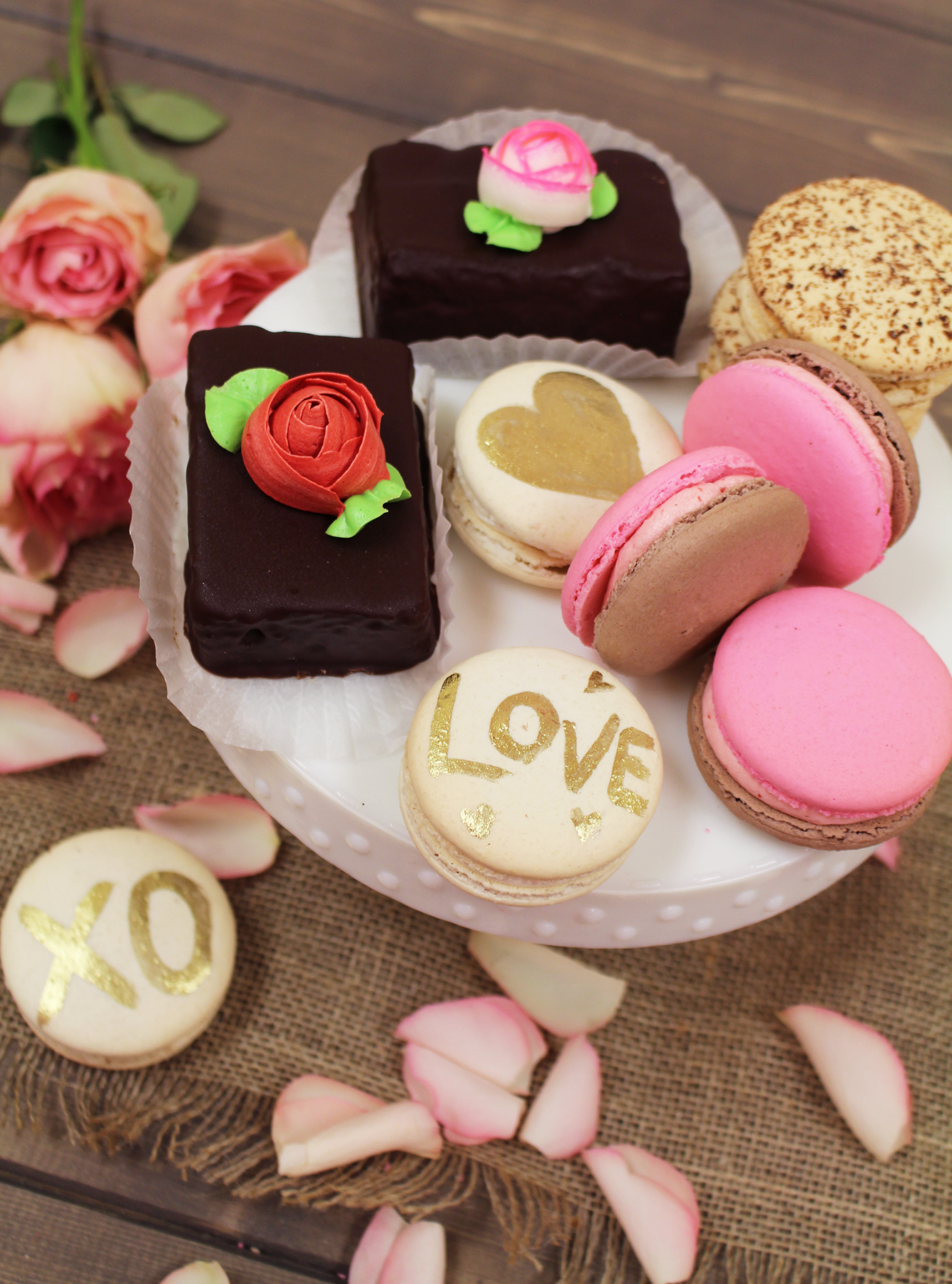 French Macarons and Rose Bud Brownie Bites