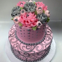 Classic Pink and Grey 2 tier
