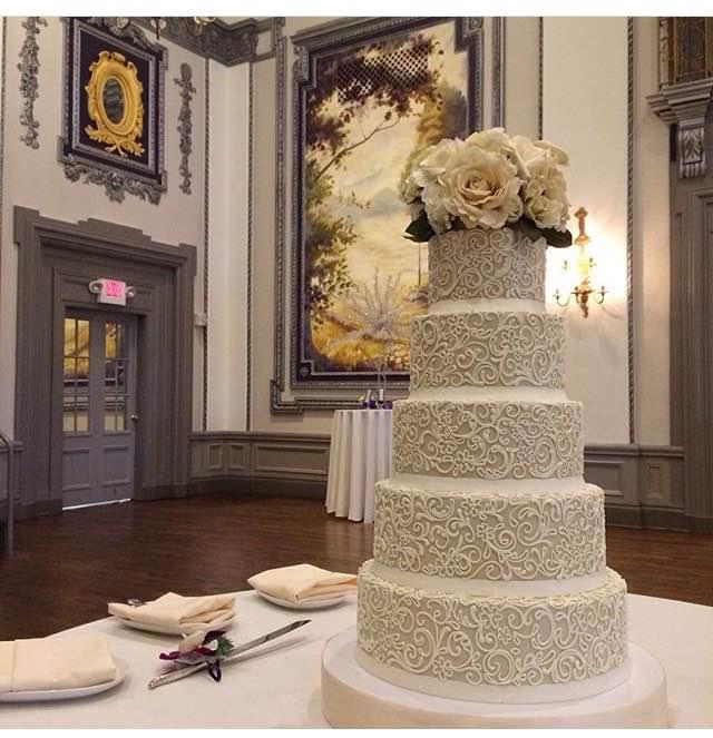 Signature wedding cakes white flower cake shoppe taupe lace mightylinksfo