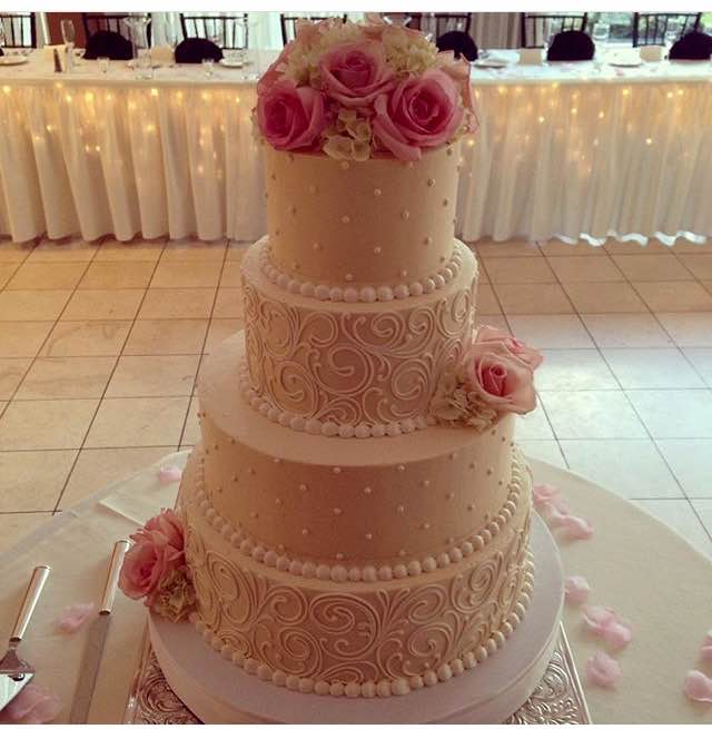 Signature wedding cakes white flower cake shoppe scrolling and pearls with fresh pink roses mightylinksfo
